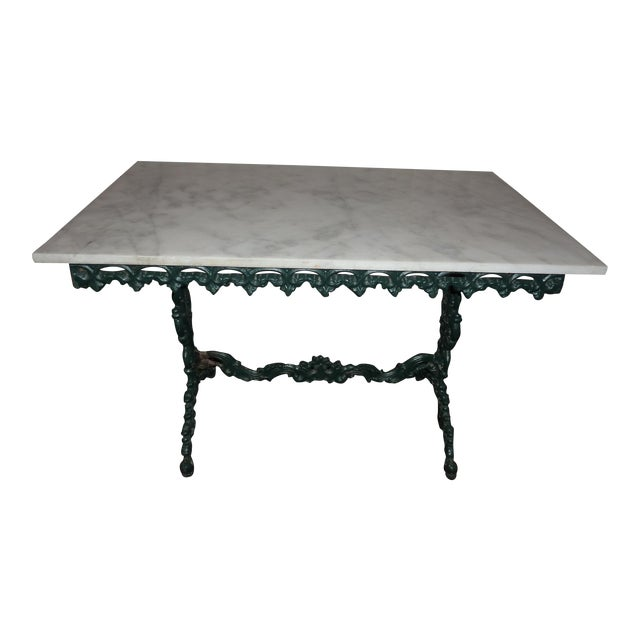English cast iron carrera marble top table chairish for Table carrera