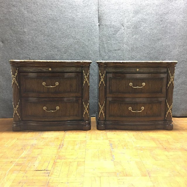 Image of Philippe Langdon Marble Top Nightstands