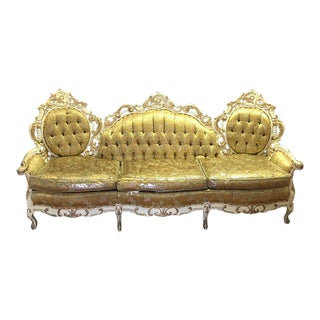 Victorian Golden Tufted Three-Seater Sofa