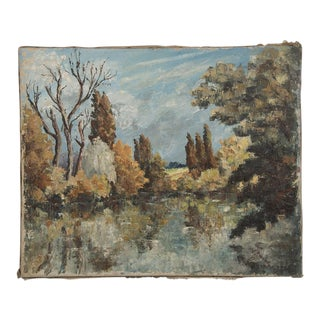 A lovely Impressionist style painting signed in the lower right corner by E. Raverdy and dated 1885.