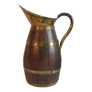 Large Antique French Wood and Brass Pitcher