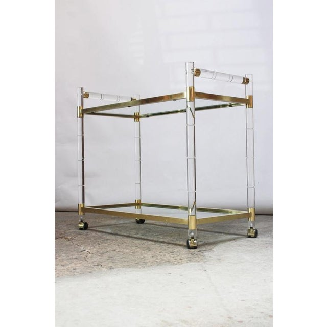 Charles Hollis Jones Lucite Faux-Bamboo and Brass Serving Cart - Image 2 of 11