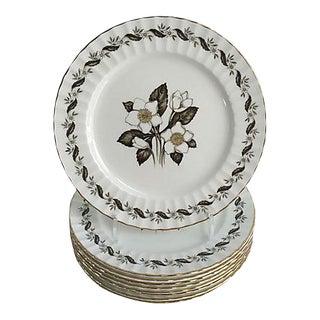 English Royal Worcester Engadine Porcelain Dinner Plates - Set of 8