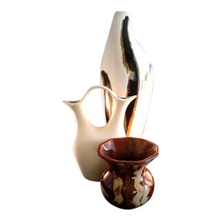 Set of 3 Brown and Beige Tone Vases