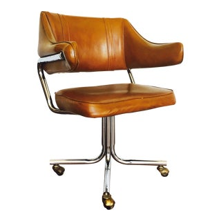 Mid Century Vinyl and Chrome Swivel Office Chair