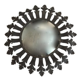 Vintage French Fleur De Lis Sunburst Convex Mirror