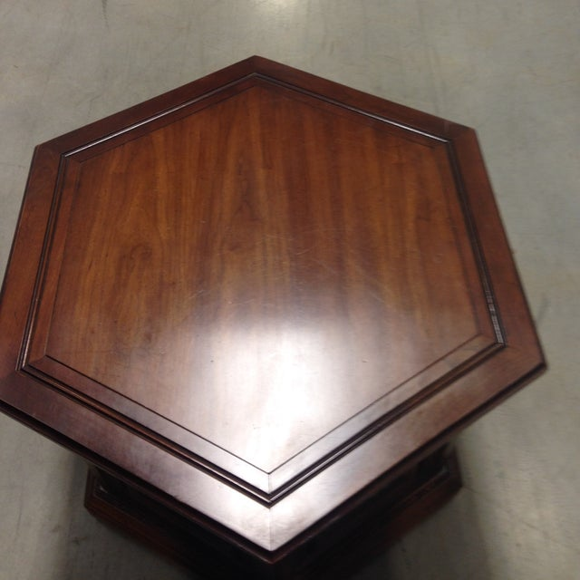 Image of Mid-Century Wooden Hexagonal Side Table