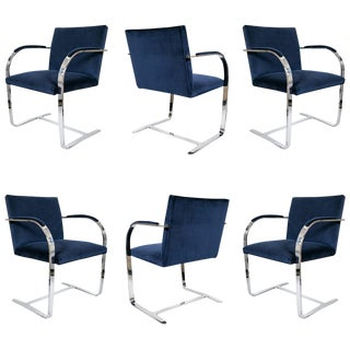 Brno Flat Bar Navy Velvet Chairs, Set of 6