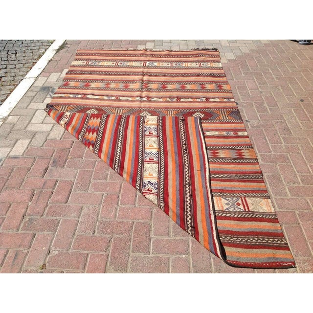 "Vintage Turkish Kilim Rug - 5'4"" x 8'11"" - Image 5 of 6"