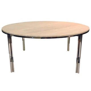 Pace Collection, Polished Stainless and Travertine Dining Table 1960s