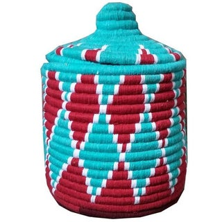 Moroccan Red & Turquoise Woven Basket
