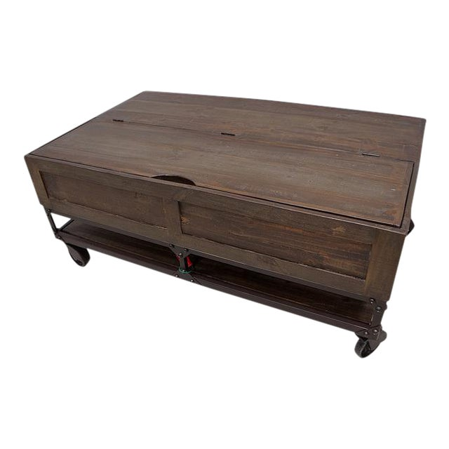 Rustic Industrial Coffee Table On Casters