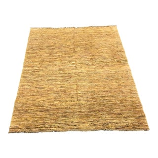 Gold Hand Woven Wool Persian Rug - 5′ × 6′7″