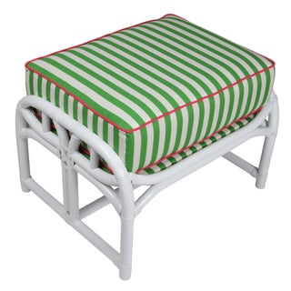 Ficks Reed Lilly White & Green Ottoman