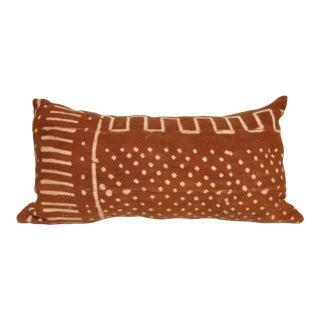 """Rust Mud Cloth Lumbar Pillow - 12"""" x 24"""""""