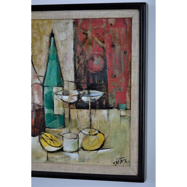 1950s Mid-Century Modern Cubist Oil Painting by Kero S. Antoyan Abstract Expressionism Millennial Pink - Image 5 of 11
