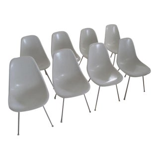 White Vintage Eames Side Chairs - Set of 8
