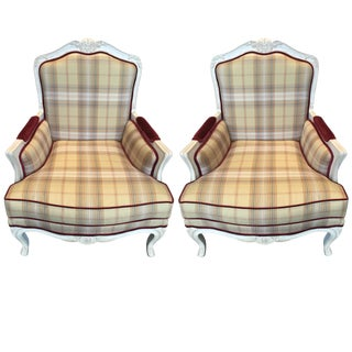 Plaid French Heritage Arm Chairs - A Pair