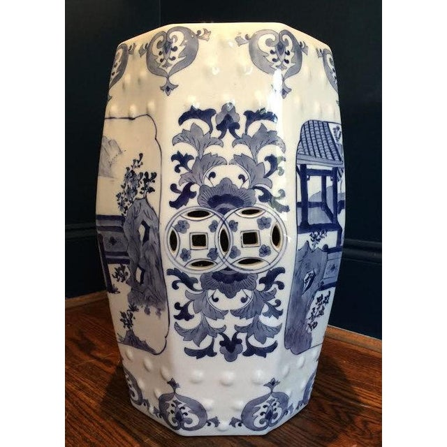 Chinoiserie Blue and White 8 Sided Garden Stool - Image 2 of 4