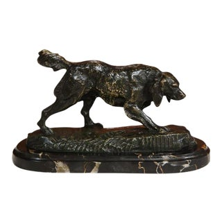 19th Century French Bronze Dog on Marble Base