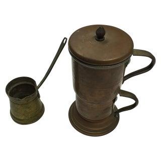 Vintage Copper Coffee Pot & Brass Ladle Server