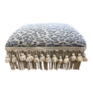 Safari Leopard Tasseled Footstool