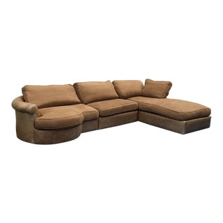 Golden Brown Fabric and Leather Handmade Sectional