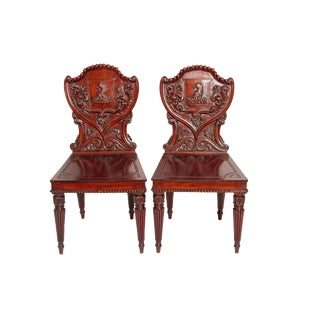 Pair of English Regency Mahogany Hall Chairs