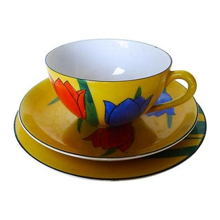 Hand Painted Okwan Porcelain Cup, Bowl & Plate