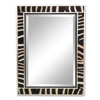Zebra Hide & Silver Finish Frame Beveled Mirror