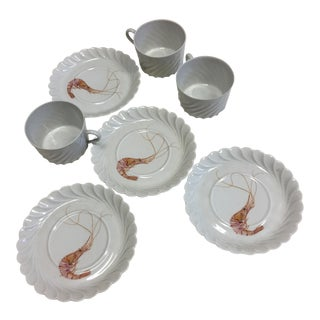 Haviland Limoges Shrimp Saucers & Cups