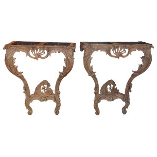 Pair of 18th C. French Stripped Consoles