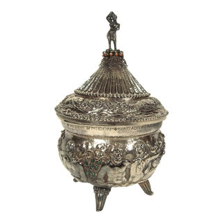 Rare and Unusual Bejeweled Hungarian Silver Tureen, circa 1924