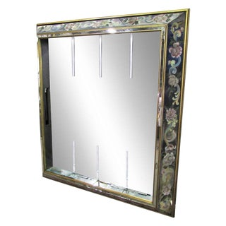 Mid-Century Mirror With Floral Frame