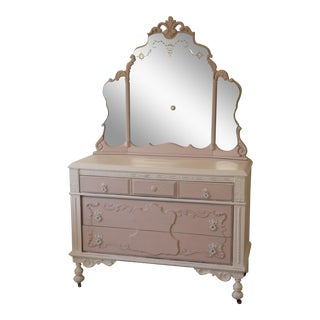 Antique Shabby Chic Dresser With Mirror