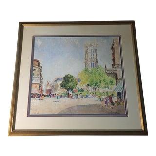 "Vincenzo Fioravanti ""Paris Street Scene 1"" Painting - 29"" x 27"""