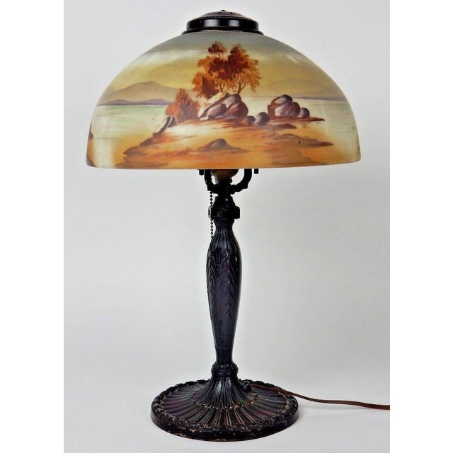 Antique Signed Pittsburgh Electric Reverse Painted Table Lamp - Image 6 of 11