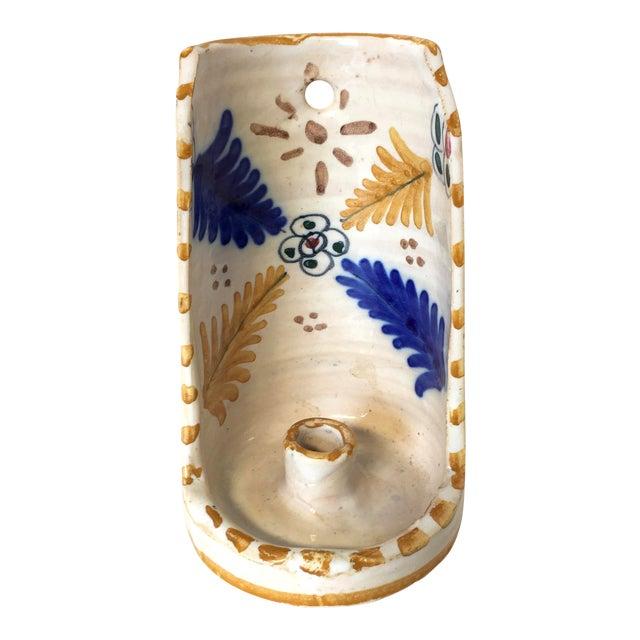 Vintage Blue & Gold Art Pottery Candle Holder - Image 1 of 5