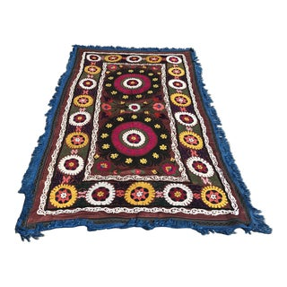 Vintage Suzani Blue Tassel Table Runner