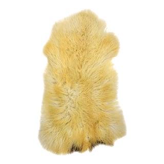 "Genuine Handmade Long Soft Beige Wool Sheepskin Rug Pelt, Sheepskin Throw - 2'6""x4'3"""