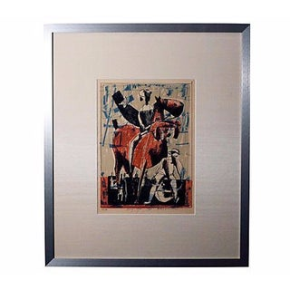 Midcentury Artist-Signed Abstract Horse Lithograph