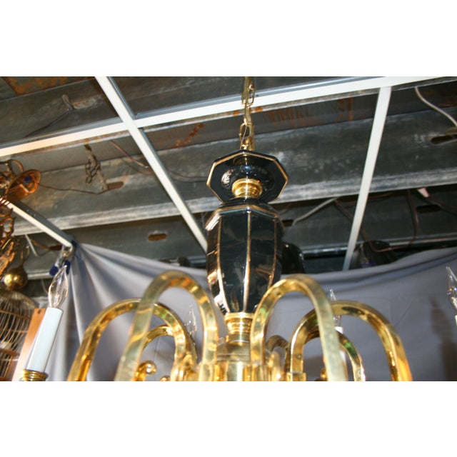 Black & Gold Porcelain and Brass Chandelier - Image 5 of 8