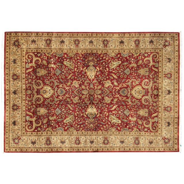 """Hand-Knotted Tabriz Wool Rug - 6' x 8'10"""" - Image 1 of 5"""