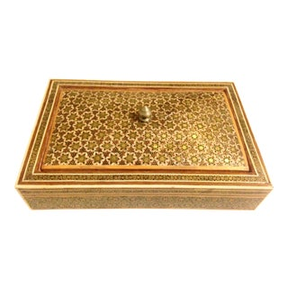 Antique Persian Khatam Wood Inlay Jewelry Box