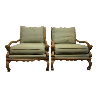 Vintage Carved Oak Upholstered Armchairs - A Pair