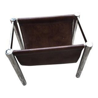Milo Baughman Chrome and Leather Magazine Rack