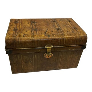 Old Victorian English Painted Tin Trunk