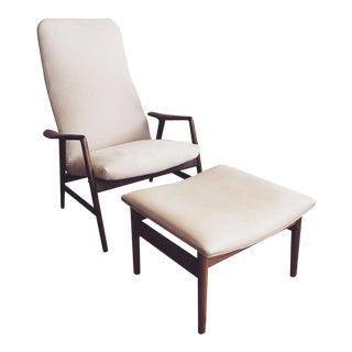 Alf Svensson Danish Reclining Lounge Chair & Ottoman
