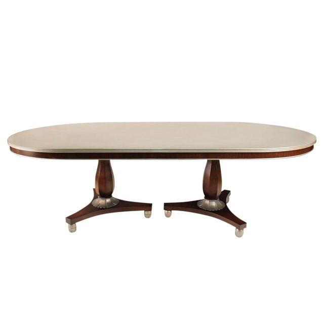 Transitional Silver Painted Dining Table - Image 1 of 3