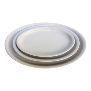 Trio of Mid-Century White Oval Serving Platters